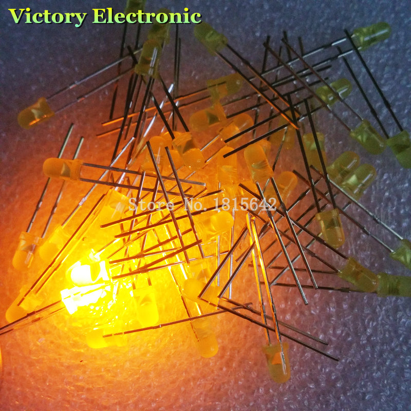 New 100PCS/Lot 3MM LED Diode Round Yellow Color Light Lamp F3 DIP Highlight Wholesale Electronic(China (Mainland))