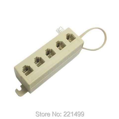 [FREE SHIPPING/EPACKET!] WHOLESALE 10pcs/lot 5 Way Outlet 6P4C RJ11 RJ12 Telephone Phone Modular Jack Line Splitter Adapter(China (Mainland))