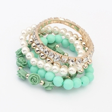 JEWELRY Factory Simulated-Pearl Black Beads Rose Pendant Stretch Bracelets & Bangles Six Colors For Women Fashion Jewelry(China (Mainland))