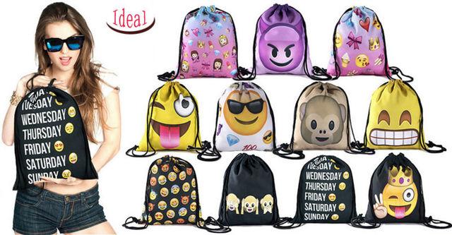 На складе Подросток emoji эсколар рюкзак drawstring 3D печать путешествия softback мужчина женщины mochila feminina сумки рюкзаки