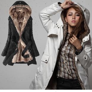 2015 Winter Clothing Coat Korean Thicker Women Warm Fur Hoodies Ladies Long Cotton Jacket Parka Plus size S-XXXL casaco feminino(China (Mainland))