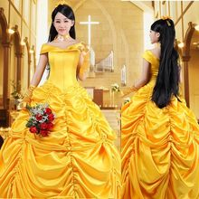 Adult Princess Belle cosplay Costume Made Beauty and The Beast Fancy Ball Dress