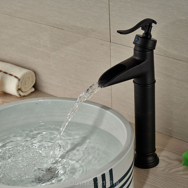 Фотография Newly Oil Rubbed Bronze Basin Faucet Vessel Mixer Tap Single Handle Waterfall Sink Faucet