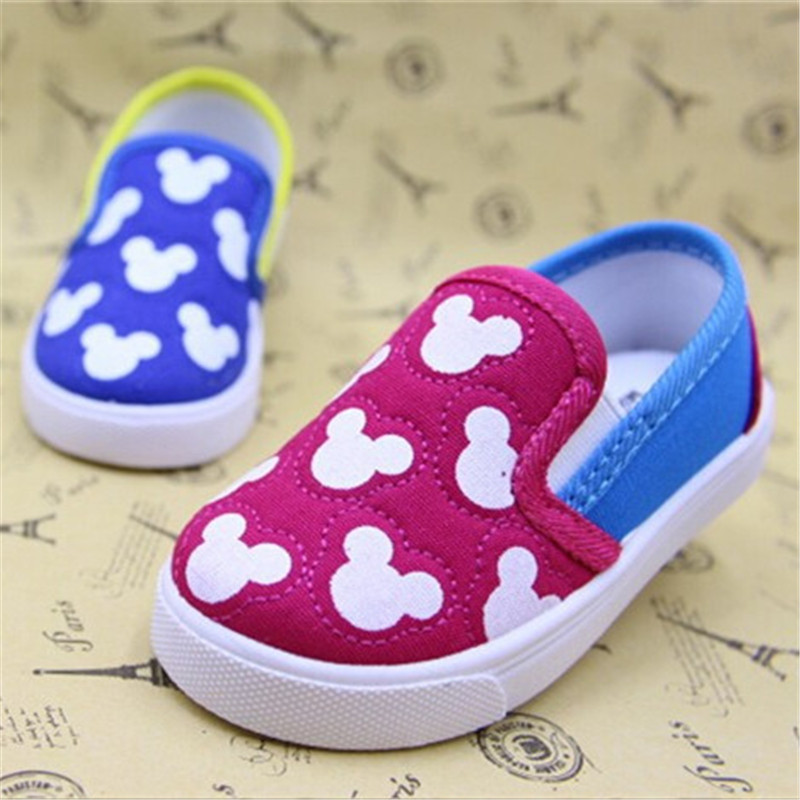 2015 new children kids boys girls baby canvas shoes cartoon mouse soft bottom board Sneakers loafers first walker Toddler Shoes(China (Mainland))