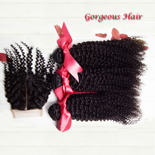 4 Pcs Lot Peruvian Kinky Curly Virgin Hair Lace Closure With Bundles Unprocessed Human Hair Weaves