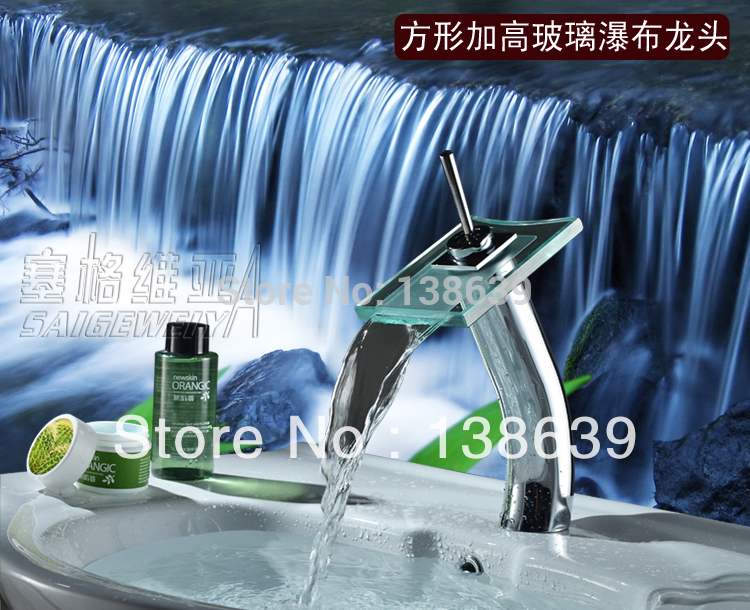 Free shipping hot sale discount waterfall bathroom faucet,single handle single hole hightening basin sink mixer tap faucet,6008(China (Mainland))