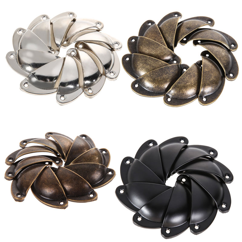 Free Shipping 10 PCS Vintage Cabinet Knobs and Handles Cupboard Door Cabinet Drawer Furniture Antique Shell Handle Best Price(China (Mainland))