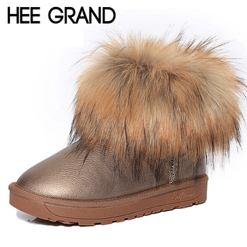 HEE GRAND Brand Women's Shoes Thick Fur Fashion Snow Boots 2016 New Winter Cotton Warm Shoes For Women Ankle Boots XWX3265