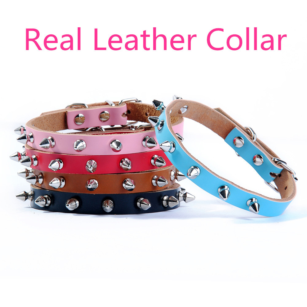Single row bullet Leather Small Dog Collars Pet collar Teddy Neck Bichon Frise harness Chihuahua Leash Cat slimsy collar(China (Mainland))