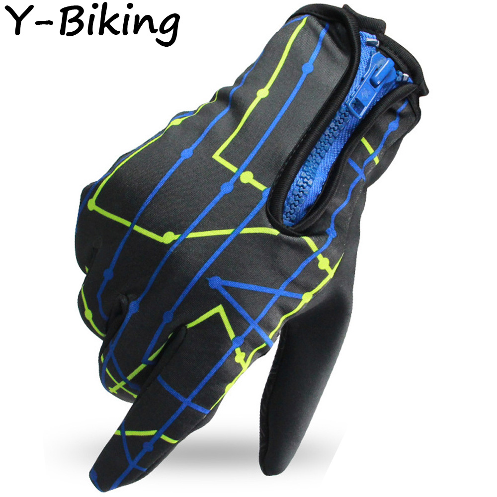 Cycling Gloves Windproof Zipper Touch Screen MTB Bike Bicycle Gloves Full Finger Mittens Outdoors YB-BW35-02(China (Mainland))