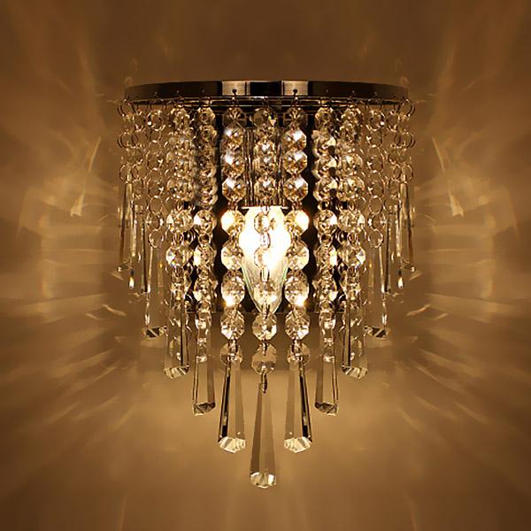 Modern Crystal Chandelier Wall Light Lighting Fixture 220V bedroom bedside crystal wall lamp ...