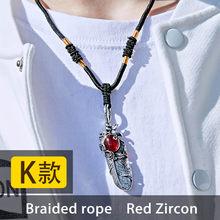 バイエルファッションステンレス鋼の羽のペンダントネックレスレッド/ブラック/ブルー石葉 jewerly 男(China)