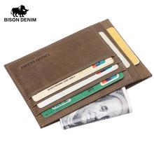 BISON DENIM Hot retro design Coin Purses men bcredit card holder Khaki Vintage pocket money wallet mini small wallets(China (Mainland))