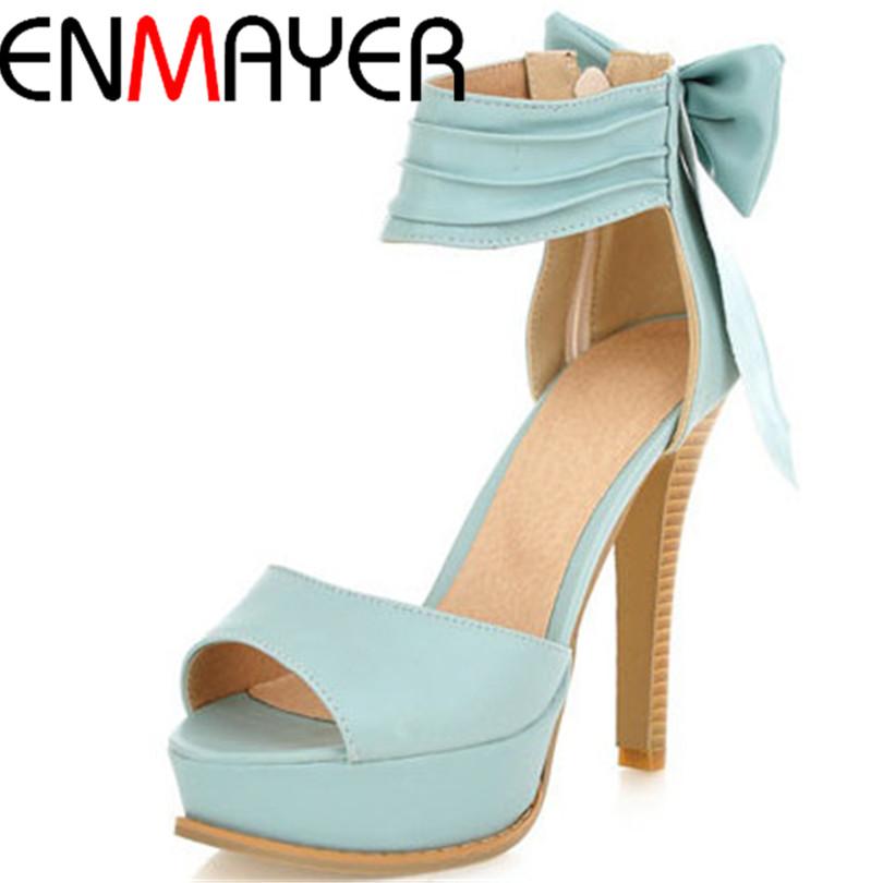 ENMAYER new 2015 Ankle-Wrap Bowtie Thin Heels women sandals for shoes big size 34-42 Summer Wedding shoes 4 colors platform <br><br>Aliexpress