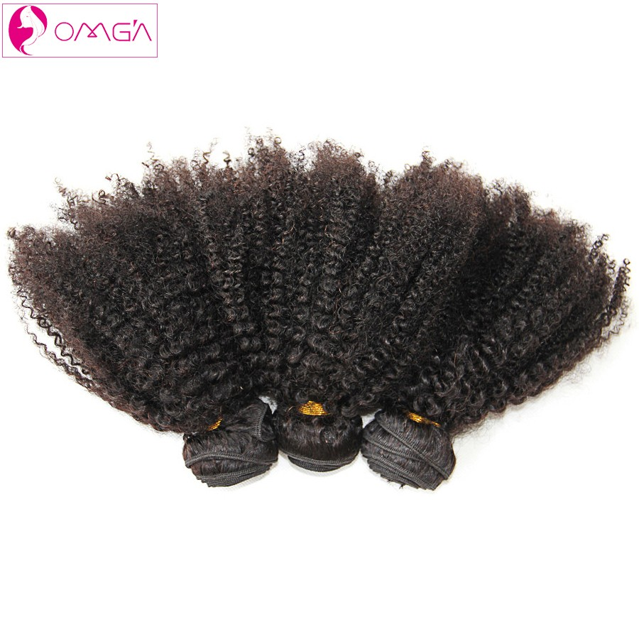 OMGA Brazilian Afro Kinky Curly Virgin Hair 3 Bundles Afro Kinky Curly Human Hair Weaves 1B 100g/pc Brazilian Hair Extensions 7a