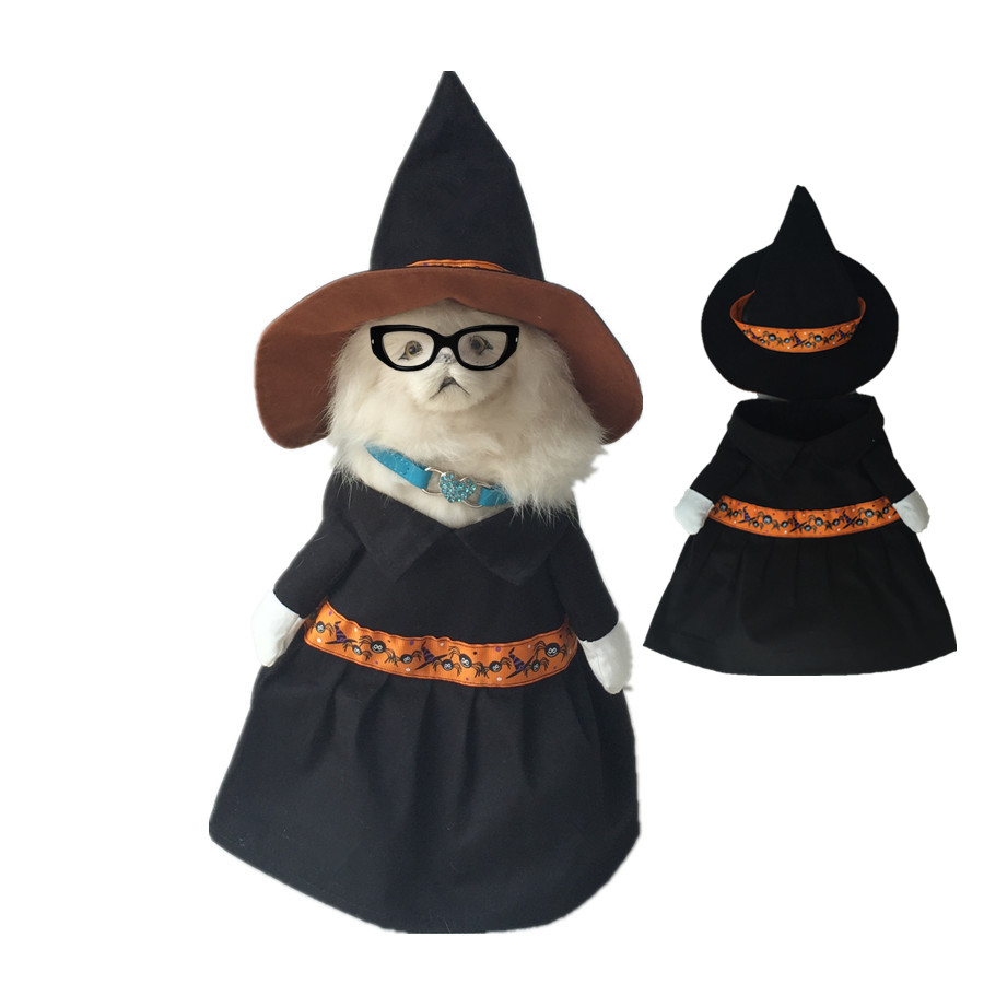 New Scarecrow Witch Dog Costume Clothes With Witch Hat Halloween Pet Costume Coats Clothing For Puppy Chihuahua Cat And Animals(China (Mainland))