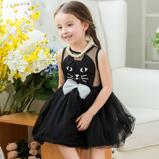 Wholesale 2015 New Summer Fashion Sleeveless Little Girls Cat Dress for Kids with Bowknot Children Cat Mesh Princess Dress Black(China (Mainland))