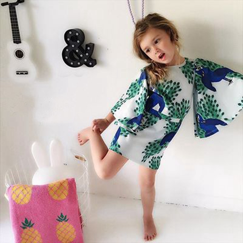 2016 Fashion New Mini Rodini Peacock Print Flying Sleeve Dress Brand Girl Knee Length Clothing Baby Girls Dresses 1-8t<br><br>Aliexpress