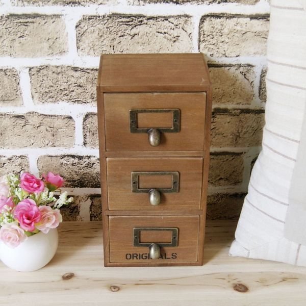 Desktop storage box zakka wooden cosmetics storage box finishing cabinet storage cabinet 3 fps drawer cabinet