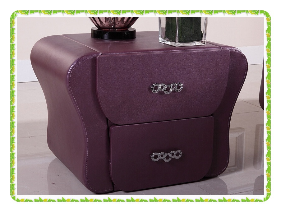 Purple leather bedside tables fashion bedroom furnitures hot selling(China (Mainland))