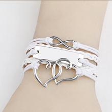 NEW Fashion Heart Leather Cute Charm Bracelet Women Men Unisex Popular Jewerly Love(China (Mainland))