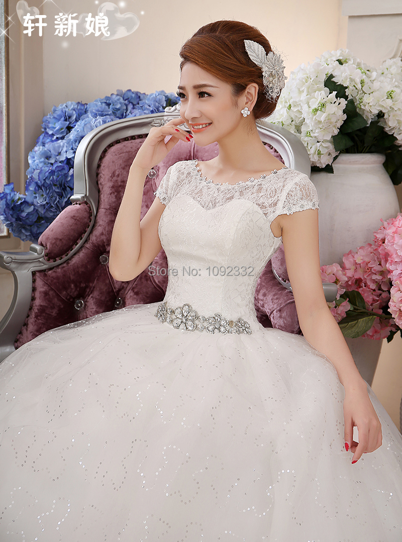 z bridal gown Stock 2015 New Plus size pregnant wedding dress women chinese princess short sleeve bandage cheap under $ 50(China (Mainland))