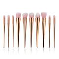 10PCS set Rosegold Powder Foundation Makeup Brushes Set Pro Eye Shadow Blush Contour Lip Brushing Brushes