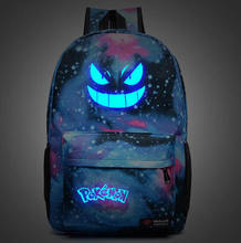 Men's Backpack Pokemon Gengar Backpack Galaxy Luminous Printing Backpack Animation Backpack School Bags for Teenagers Mochila(China (Mainland))