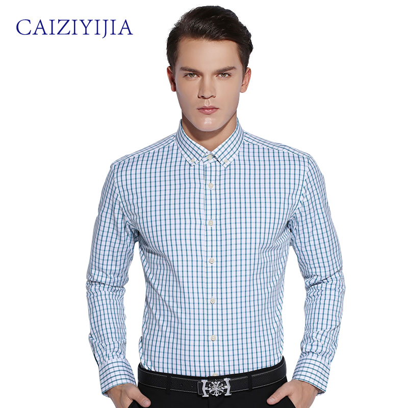 Buy caiziyijia 2016 fashion mens slim fit for Mens fitted long sleeve dress shirts