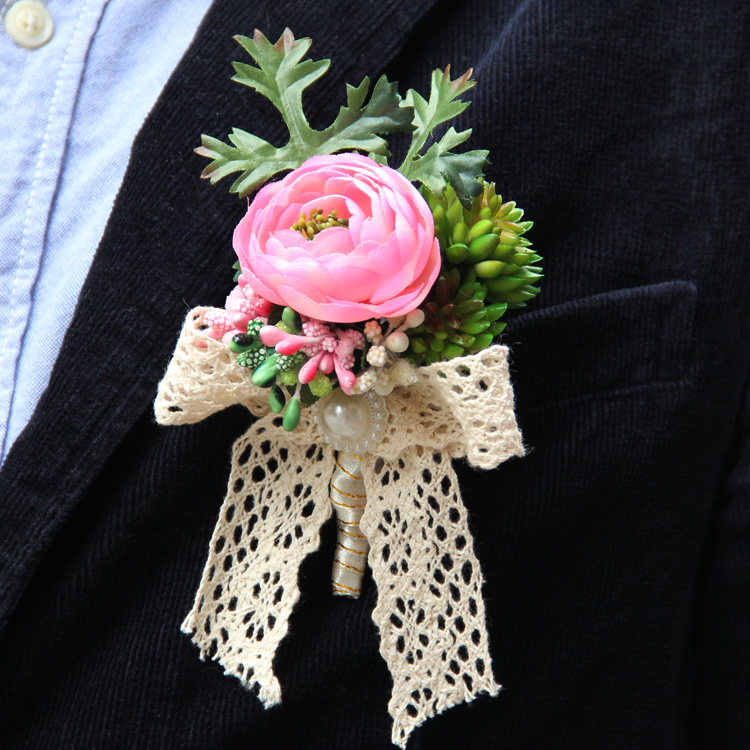 Exclusive handmade flowers wedding ideas small Camellia brooch groom boutonniere wedding flowers accessories(China (Mainland))