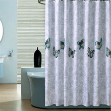 [200cm ] High quality finished modern elegant cutrain waterproof bath curtain for bathroom products butterfly shower curtain(China (Mainland))