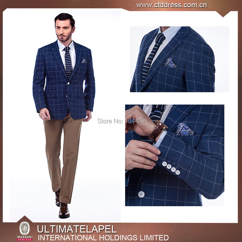 2015 Male 2 Piece Blue Plaid Slim Suit Groom Married Formal Wedding Dress Suit Men Casual Business Suits For Man