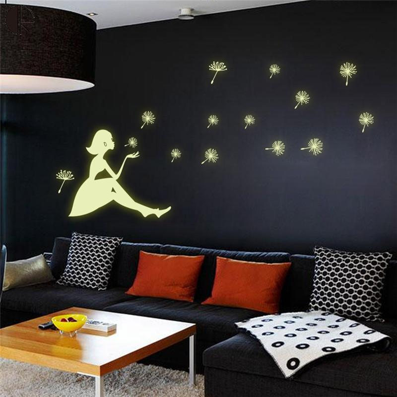 Hot Sale Dandelion Girl Home Wall Decoration Luminous Wall Stickers Vinyl Wall Art Decal Mural Walpaper Glow In the Dark HH1404(China (Mainland))