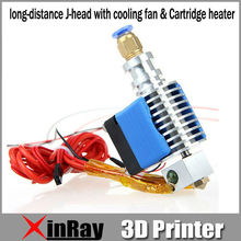 Free Shipping Hot Selling Metal long-distance J-head with cooling fan & Cartridge heater 3d Printer Accessories GT029