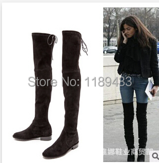 Suede Over The Knee Flat Boots - Boot Hto