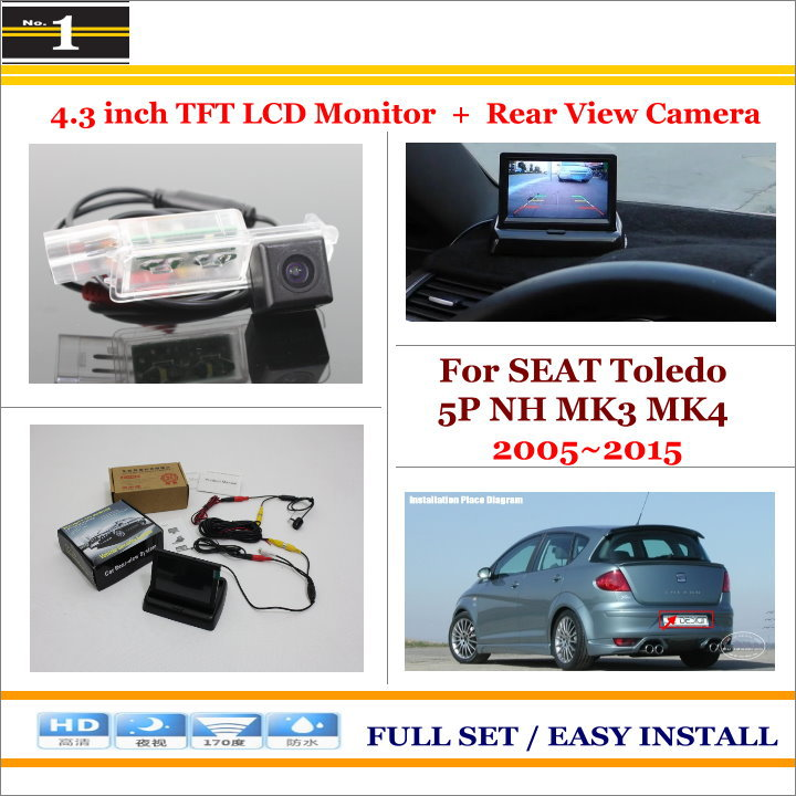 """In Car 4.3"""" Color LCD Monitor + Car Rear Back Up Camera = 2 in 1 Park Parking System - For SEAT Toledo 5P NH MK3 MK4 2005~2015(China (Mainland))"""
