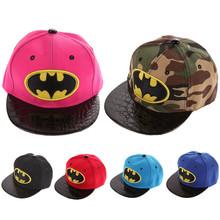 Kids Cartoon Casquette Flat Snapback Batman Cap Children Embroidery Cotton Baseball Cap Baby Boys and Girls Hip-Hop Hats(China (Mainland))