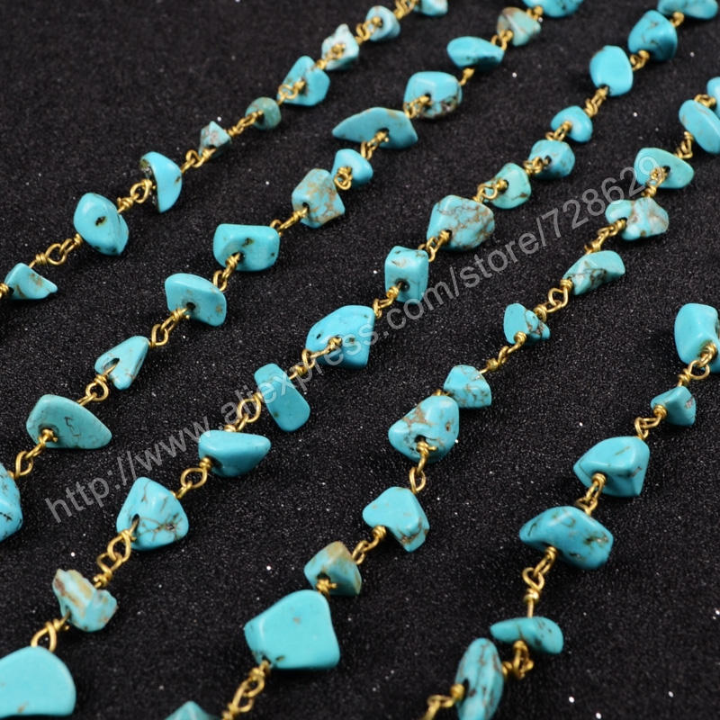 5Meter/lot New  Wire Wrapped Howlite Turquoise Stone Chips Beads Link Rosary Chains Jewelry Findings JT044<br><br>Aliexpress