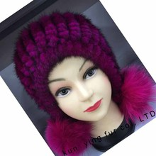 The fox ball decoration mink knitted hat