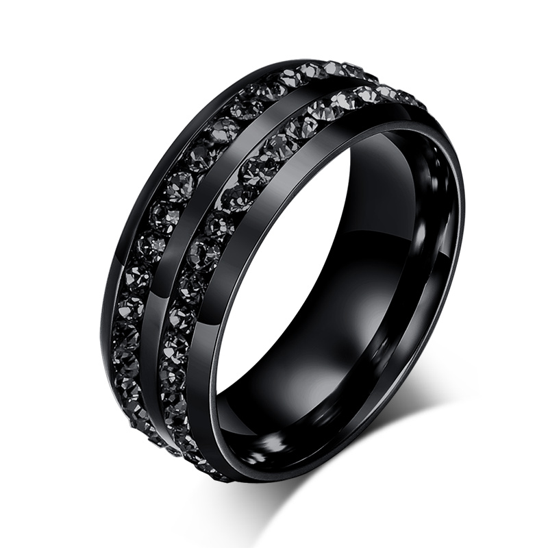 New Fashion Men Rings Black Crystyal Rings Stainless Steel Men Wedding Rings In Rings From