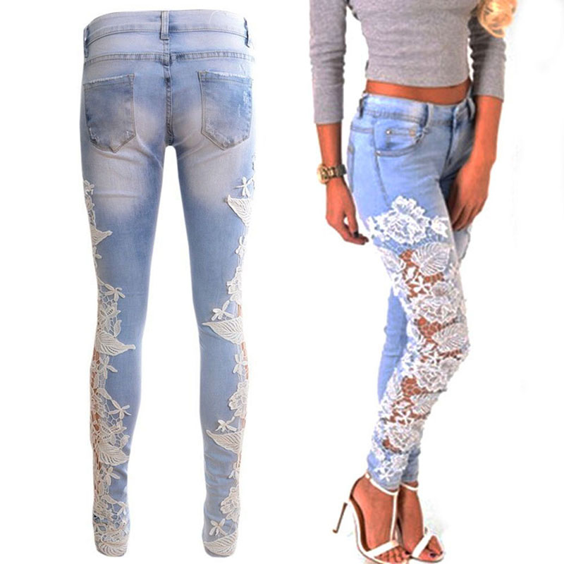 Crochet Jeans : Jeans Lace Crochet Casual Denim Pants-in Jeans from Womens Clothing ...