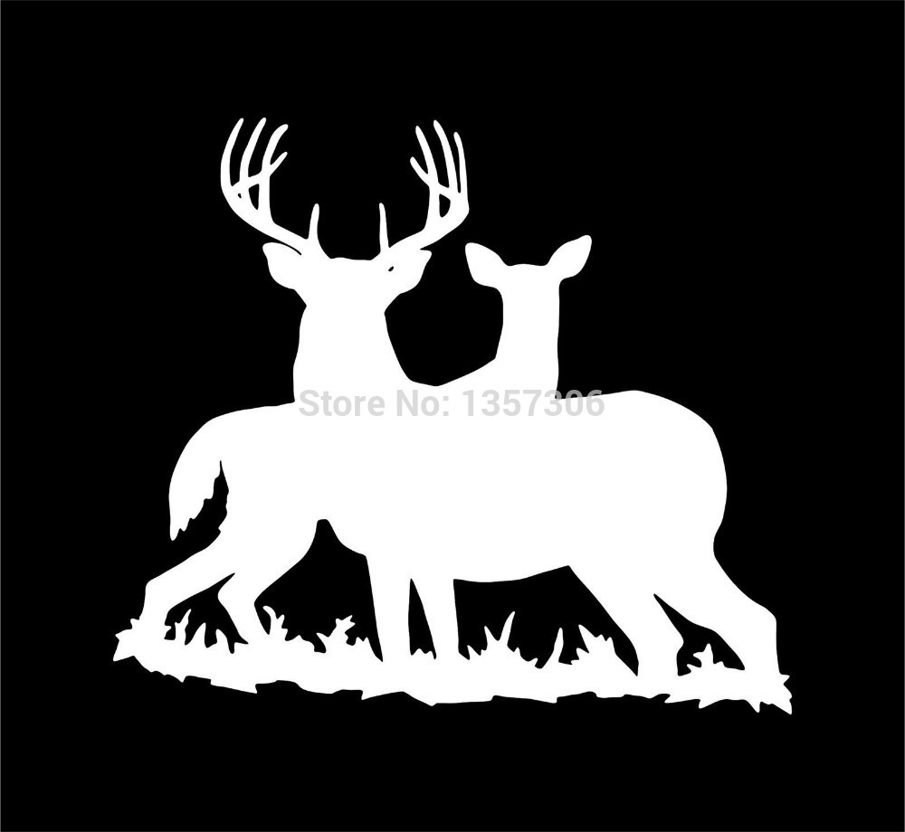Wholesale 50 pcs/lot Deer Family Hunting Vinyl Decal Car Window Truck Bumper Auto Door  Kayak Sticker 9 Colors
