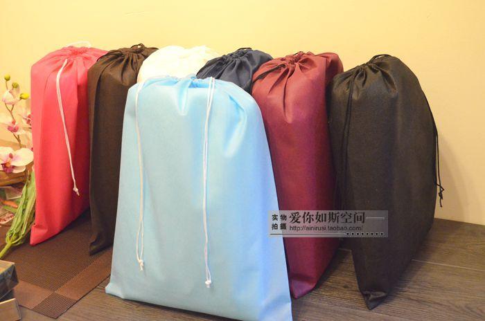 2014 new Freeshipping Wholesale 40*50cm 10pcs/lot Folding Eco Non-woven Handbag Clothing Drawstring Travel Storage Organizer Bag(China (Mainland))