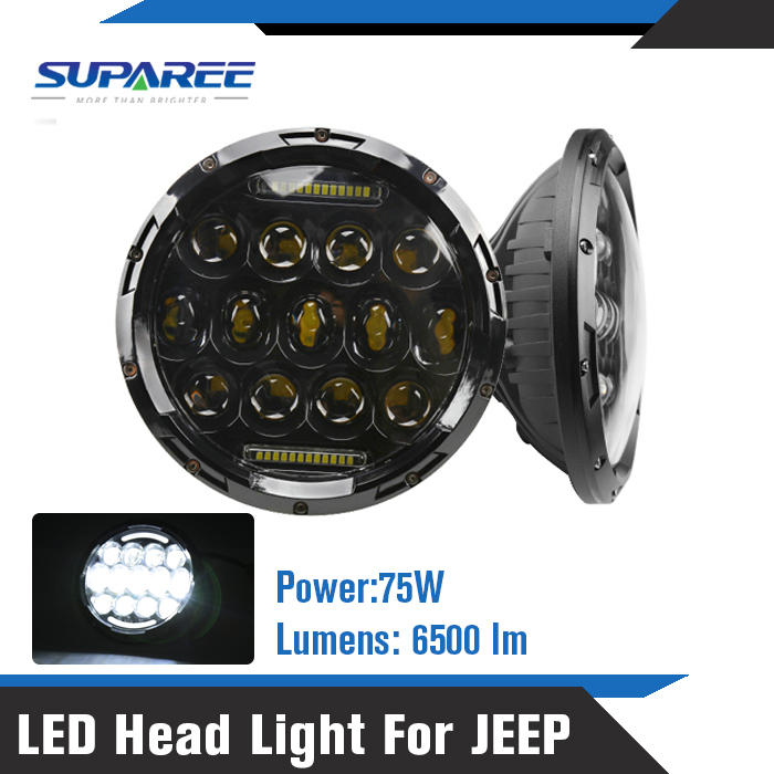 USA Stock 2016 New 2Pcs 7Inch 75W 7500LM Hi/Low Beam Car LED Headlight Bulb for JEEP Wrangler Hummer Camaro FJ Cruiser(China (Mainland))