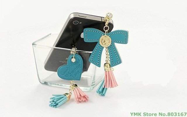 Leather Tassel Peach Heart  Multi Elements Mobile Phone Plug Dustproof Plug,Free Shipping