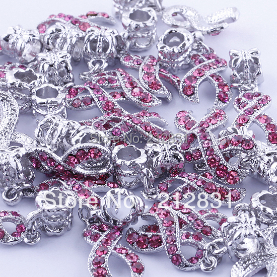 , SALE 2Rose Crystal Rhinestone Ribbon Cancer AWARENESS Charms Bead Pendant Fit Charm Bracelets - Jewelry-findings (Min order $8.5 store)