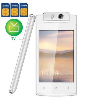 """Оригинальный три SIM карты вращающаяся камера S6 V555 4.0 """" квад-мобильный телефон поддержка языка с wi-fi TV разблокирована celular"""