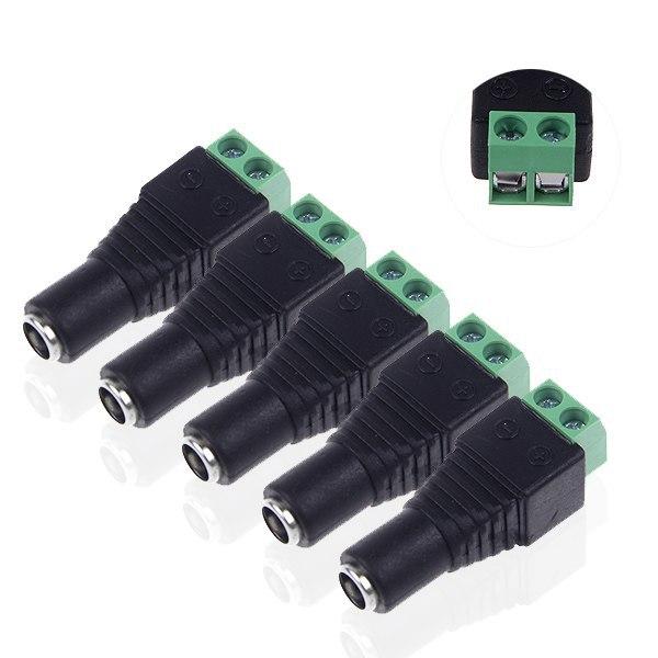5pcs/Set 2.5*5.5mm DC Power 2 Wire Screw Female Jack Socket Adapter Connector Plug for CCTV Camera DVR LED Strip Light(China (Mainland))