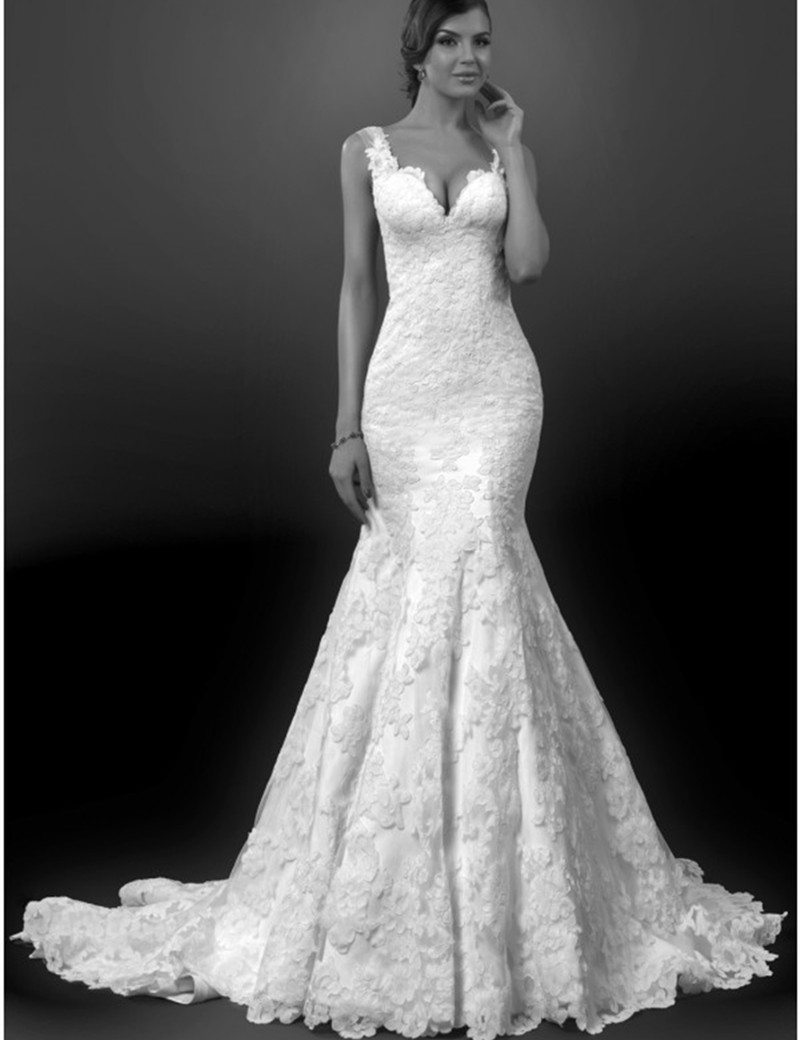 Buy vintage lace backless sexy mermaid for Wedding dress long train