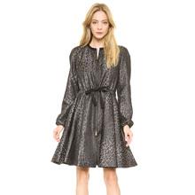 Fashion Autumn Winter 2016 Leopard Jacquard Grosgrain Band Tightening Girth Horn Skirt Zipper Plus Size Women's Trench Coat